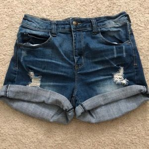 Dark wash ripped jean shorts from Delias